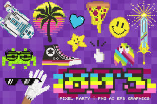 80's Pixel Party Gamer Clip Art Set Graphic Illustrations By Dapper Dudell