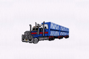 Blue Tractor Tuck Transportation Embroidery Design By StitchersCorp