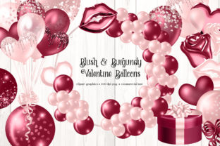 Print on Demand: Blush and Burgundy Valentine Balloons Graphic Illustrations By Digital Curio
