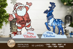 Print on Demand: CHRISTMAS Multilayer Laser Cut Files Graphic 3D SVG By LaserCutano