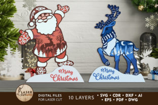 Print on Demand: CHRISTMAS Multilayer Laser Cut Files Graphic 3D SVG By LaserCutano 10