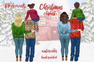 Print on Demand: Christmas Family Clipart Sublimation Png Graphic Illustrations By LeCoqDesign