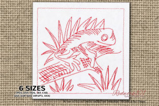 Cute Little Frog Reptiles Embroidery Design By Redwork101