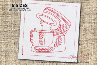 Dough Mixer with Bowl Kitchen & Cooking Embroidery Design By Redwork101