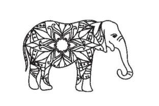 Elephant in Mandala Style Mandala Embroidery Design By Embroidery Designs