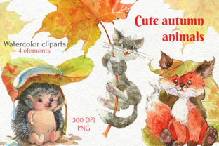 Print on Demand: Fall Autumn Animals Clipart, Cute PNG Graphic Illustrations By CherrypearStudio