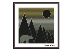 Print on Demand: Geometric Mountains and Bear Abstract Graphic Cross Stitch Patterns By Tango Stitch
