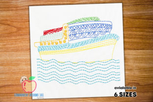 Heart Cruise Ship Beach & Nautical Embroidery Design By embroiderydesigns101
