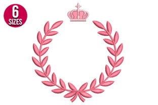 Print on Demand: Laurel Wreath with Crown Borders Embroidery Design By Nations Embroidery