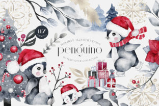 Print on Demand: Penguino Festive Watercolor Art PNG Graphic Illustrations By Busy May Studio
