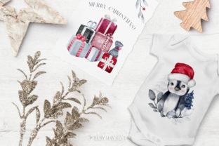 Print on Demand: Penguino Festive Watercolor Art PNG Graphic Illustrations By Busy May Studio 5