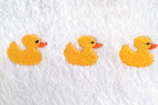 Row of Rubber Ducks Bed & Bath Embroidery Design By DesignedByGeeks