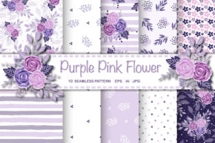 Seamless Purple Pink Flower Pattern Graphic Patterns By lindoet23