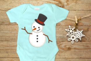 Snowman with Top Hat Winter Embroidery Design By DesignedByGeeks