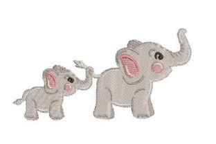 Whatercolor Elephants Holding Each Others Tails Wild Animals Embroidery Design By Embroidery Designs
