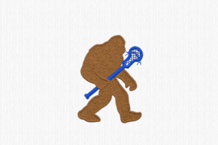 Bigfoot with Lacrosse Stick Sports Embroidery Design By Scrappy Remnants