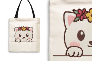 Print on Demand: Cat with Flower Crown Cats Embroidery Design By Wilansa