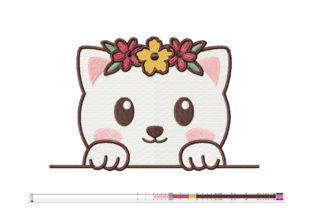 Print on Demand: Cat with Flower Crown Cats Embroidery Design By Wilansa 2