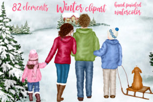 Print on Demand: Christmas Family Clipart Winter Family Graphic Illustrations By LeCoqDesign 1
