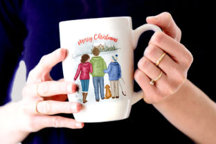 Print on Demand: Christmas Family Clipart Winter Family Graphic Illustrations By LeCoqDesign 7