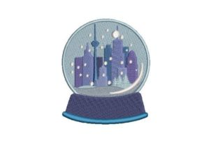 Cityscape Snow Globe Cities & Villages Embroidery Design By Embroidery Designs