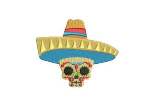 Day of the Dead Mask with Sombrero Holidays & Celebrations Embroidery Design By Embroidery Designs