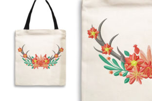 Print on Demand: Deer Antler with Flower Crown Floral & Garden Embroidery Design By Wilansa