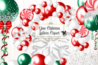 Print on Demand: Glam Christmas Balloons Clipart Graphic Illustrations By Digital Curio