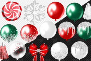 Print on Demand: Glam Christmas Balloons Clipart Graphic Illustrations By Digital Curio 2