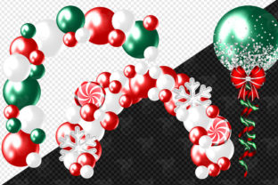 Print on Demand: Glam Christmas Balloons Clipart Graphic Illustrations By Digital Curio 3