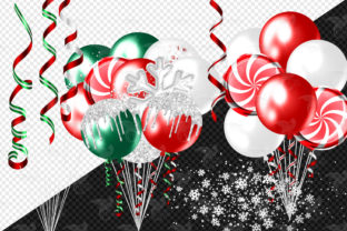 Print on Demand: Glam Christmas Balloons Clipart Graphic Illustrations By Digital Curio 4