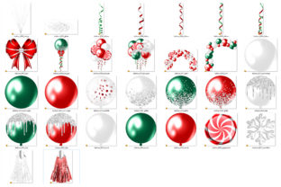 Print on Demand: Glam Christmas Balloons Clipart Graphic Illustrations By Digital Curio 5