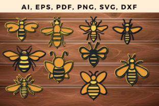 Print on Demand: Multi Layer 3d Bee Bundle for Decoration Graphic 3D SVG By NGISED