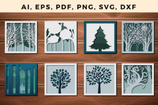Print on Demand: Multi Layer Forest Frame Wall Cut Bundle Graphic 3D SVG By NGISED