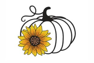 Pumpkin with a Sunflower Thanksgiving Embroidery Design By NinoEmbroidery