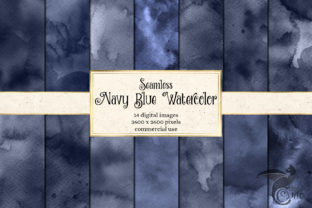 Print on Demand: Seamless Navy Blue Watercolor Textures Graphic Textures By Digital Curio