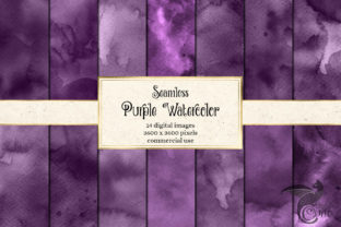 Print on Demand: Seamless Purple Watercolor Textures Graphic Textures By Digital Curio 1