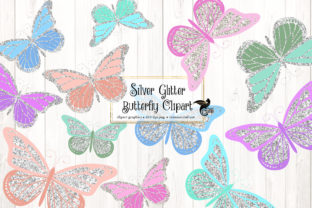 Print on Demand: Silver Glitter Butterfly Clipart Graphic Illustrations By Digital Curio
