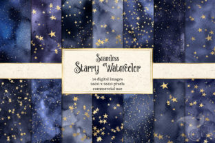 Print on Demand: Starry Watercolor Digital Paper Graphic Textures By Digital Curio