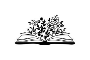 Open Book with Flowers Growing out of It Designs & Drawings Craft Cut File By Creative Fabrica Crafts