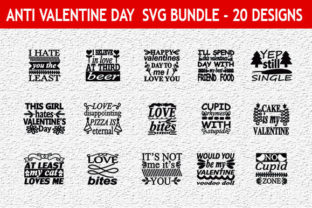 Print on Demand: Anti Valentine's Day 20 Quotes Designs B Graphic Print Templates By Mou_graphics