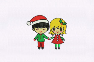 Boy and Girl Christmas Christmas Embroidery Design By StitchersCorp