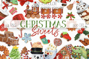 Christmas Sweets and Drinks Clipart Bundle Graphic Illustrations By KaleArtCreative