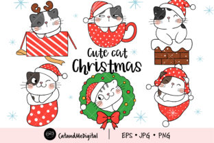 Cute Cat Christmas Clipart Graphic Illustrations By CatAndMe