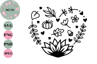 Fall Leaves Heart SVG, Sunflower SVG Graphic Illustrations By NCYD