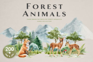 Forest Animals and Herbs Watercolor Set - 1