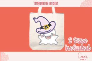 Ghost with Hat Applique Halloween Embroidery Design By carasembor