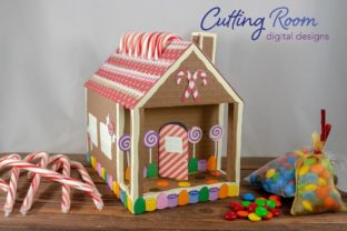 Gingerbread House Candy Cane Holder Graphic 3D SVG By cuttingroomdesigns 1