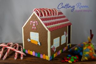 Gingerbread House Candy Cane Holder Graphic 3D SVG By cuttingroomdesigns 3