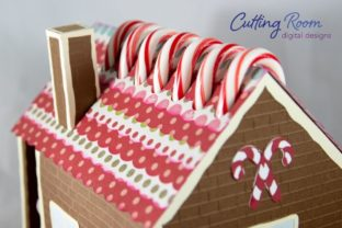 Gingerbread House Candy Cane Holder Graphic 3D SVG By cuttingroomdesigns 5